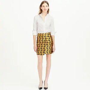J Crew Black & Gold Metallic Elephant Skirt